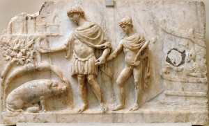 Aeneas with son Ascanius enters Latium bas relief