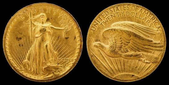 1907 Double Eagle, designed by Saint-Gaudens