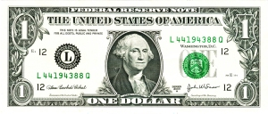 One dollar bill, series 2003, obverse, with acanthus and olive leaves.