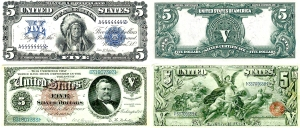 Five dollar bills from the past
