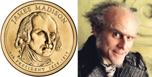The James Madison portrait on the obverse side of one of the new $1 coins.