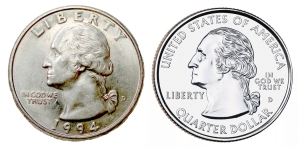 The older quarter design is more sculptural (left), while the modern quarter's face -- on the state quarters -- is flatter and a mix of relief and incised drawing, mixing two ways of thinking about images, none too successfully.